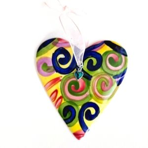 Ceramic heart embellished with jeweled heart